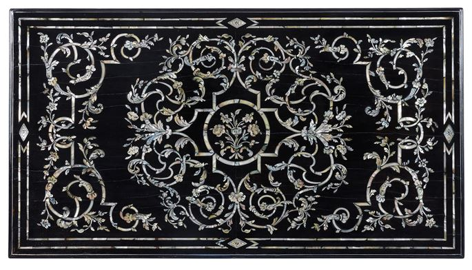 Sebastiano Novale - An important late baroque Venetian ebony mother of pearl and metal inlaid table top | MasterArt